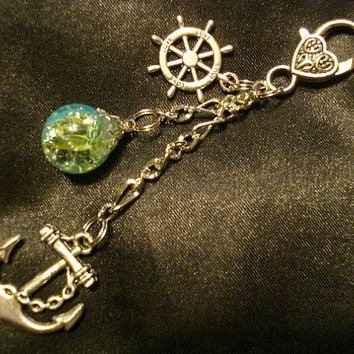 Nautical Fried Marble Anchor Rudder Love Blue Green Keychain