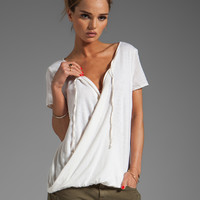 Michael Stars Luxe Slub Short Sleeve Drape Surplice Top in Vanilla from REVOLVEclothing.com