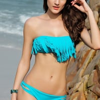 Fringed Halterneck Bandeau Bikini Set in Light Blue