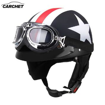 CARCHET Unisex Motorcycle Helmets with Goggles Half Open Face Strip Stars Helmet Retro Vintage 54-60cm Universal Cool Man Helmet