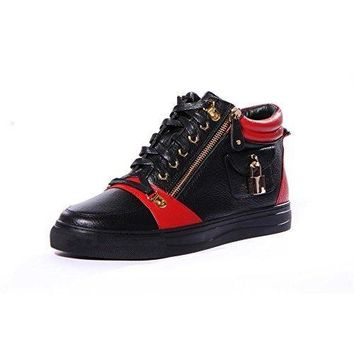 MDstyle  Zappa Round Toe Leather Lace-Up Mid-Top Sneaker
