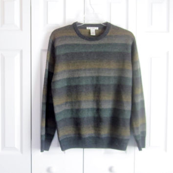 Vintage Pullover Sweater, Mens Crewneck Sweater, Size Large, Hipster Preppy, Grey Sweater, Green Gold, Soft Acrylic, Geoffrey Beene