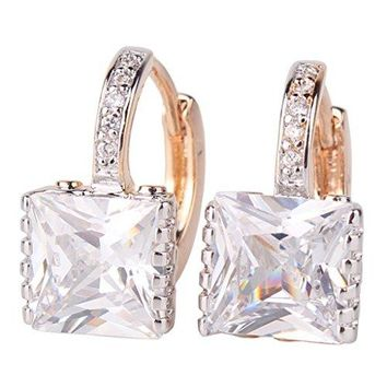 GULICX Gold Tone White CZ Zircon Sparkle Crystal Square Hoop Earrings for Women
