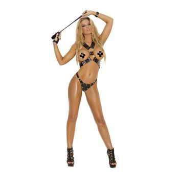 Elegant Moments EM-L1952 2 PC set Leather harness & g-string Also plus size