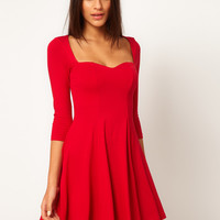 ASOS Skater Dress With Sweetheart Neck