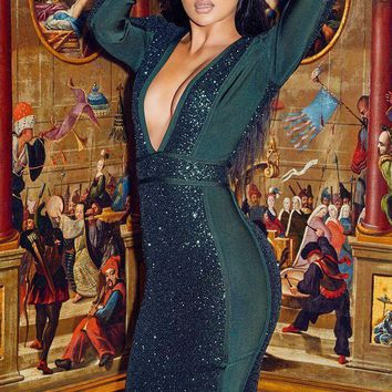 2018 Trending Hot Herve Green Deep V Collar Long Sleeved Green Beads With Bandage Prom Dress