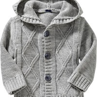 Hooded Cable-Knit Cardis for Baby