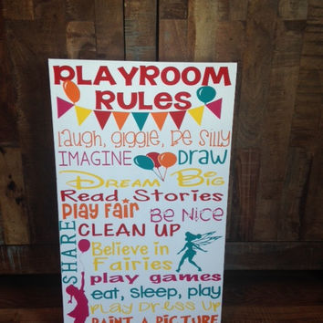 Personalized Wooden Playroom Rules Girls Balloon Sign 12x20""