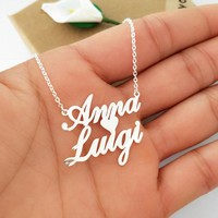 Rose Gold Personalized Name Necklace Stainless Steel Love Heart Pendant Customized Nameplated Jewelry Valentine Day Gift