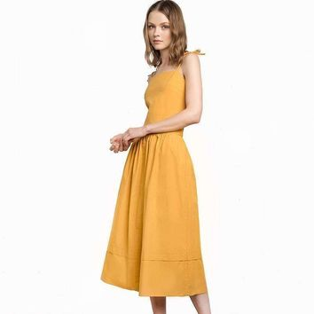 solid midi dress spaghetti strap tunic ruffle flare bowknot midi dress daily cocktail party commute dress