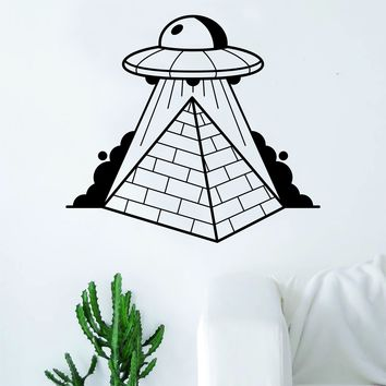 UFO Abducting Pyramids Decal Sticker Wall Vinyl Art Home Decor Space Aliens Martians Funny