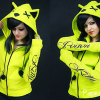 Neon cat hoodie ears poison toxic kawaii cyber goth by PaperCatsPL