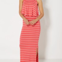Coral Striped Popover Maxi Dress | Casual Dresses | rue21