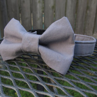 Dog collar and Bow Tie - MADE To ORDER Wedding GREY Bow Tie and Collar - grey wedding, silver wedding, bowtie dog collar