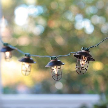 Indoor/Outdoor Electric Metal Lantern String Lights - Plow & Hearth