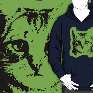 cat with green outline hoodie