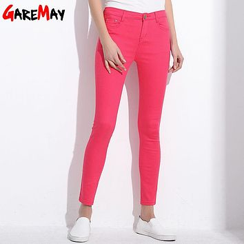GAREMAY Women's Candy Pants Pencil Trousers 2017 Spring Fall Khaki Stretch Pants For Women Slim Ladies Jean Trousers Female 1010 1