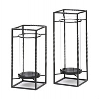 Iron And Glass Candle Stands Pair