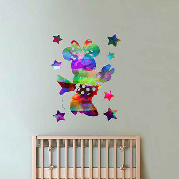 kcik2130 Full Color Wall decal Watercolor Character Disney Minnie Mouse children's room Sticker Disney