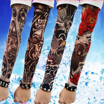 Fake Tattoo Clibe Bicycle Beach Tattoo Arm Warmers Cuff Skull/Flowers/Spider Sleeve Cover UV Sun Protection New 4PC