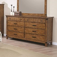 Wooden Dresser with 8 Drawers, Warm Honey Brown