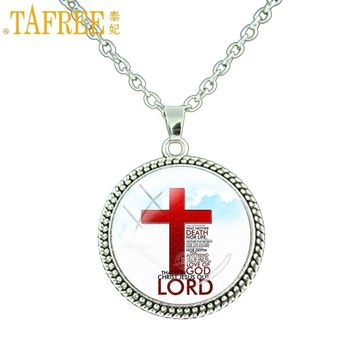 TAFREE Love Of God jewelry Christ Jesus Our Lord pendant necklace Cross charm Christianity religious men women praying gift E678