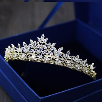 Paved Gold Crystal Crown Tiaras Cubic Zircon Flowers Wedding Bridal Party Hair Accessories