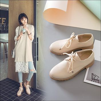Lace Up Women Flats Casual Shoes Beige, Blue, Pink
