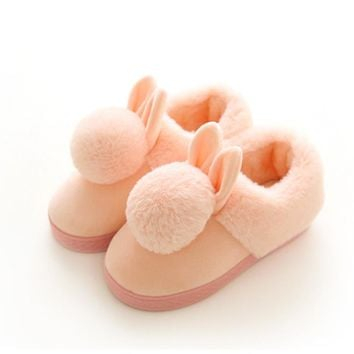 kids slippers animal cotton rabbit slippers Winter Warm Plush baby home slippers boys girls toddler shoes child Flip Flops