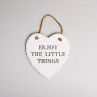 Enjoy the Little Things Heart Plaque