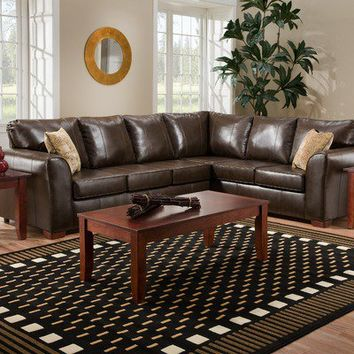 American Furniture Bentley Bonded Leather Sectional Sofa