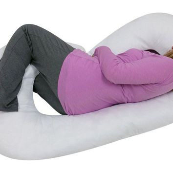 C SHAPED- PREMIUM CONTOURED BODY PREGNANCY/ MATERNITY PILLOW MULIT-POSITION WITH ZIPPERED COVER