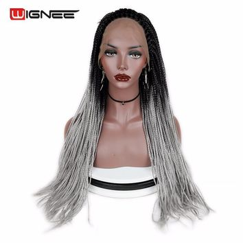 Wignee Long Hair Synthetic Wigs For Black Women Crochet Twist Box Braid High Density Lace Front Women Wigs For African American