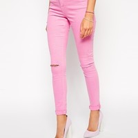 ASOS Ridley High Waist Ultra Skinny Jeans in Washed Pink with Ripped K