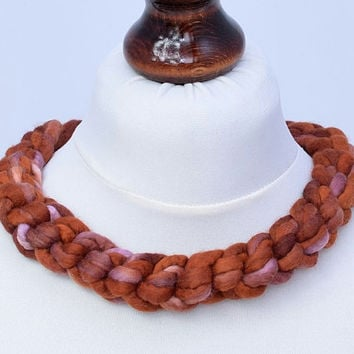 Crochet braided felt necklace made of hand dyed wool in copper color - natural, felted, braid necklace - crocheted felt jewelry [N86]