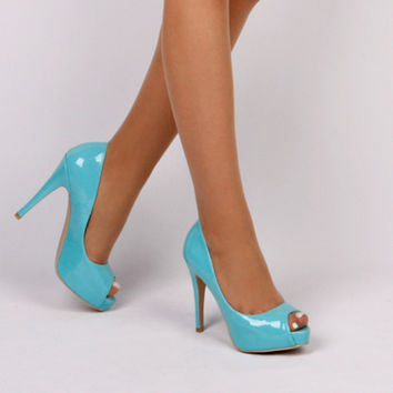 small size ladies open toe high heels sky blue patent