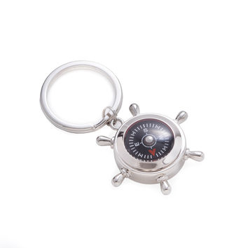 Nickel Plated Keyring with Compass and Ships Wheel Design.