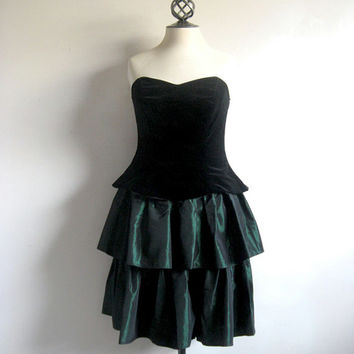 Vintage 1980s Velvet Dress LAURA ASHLEY Black Velvet Green Satin Ruffle  Skirt 80s Evening Prom Dress 12Dress 10