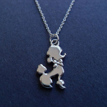 Lovely Poodle Dog pendant Sterling Silver Necklace