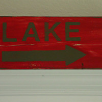 Red Hand Painted Wood Lake Sign