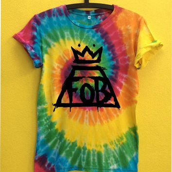 FALL Out BOY...... O Neck tie dye T shirt for women or unisex size M/L/XL you can change design for text and tell me by conversation.