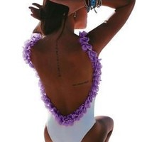 Dimensional Purple Flowers Straps Backless One Piece Swimsuit