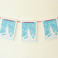 christmas garland - snowman banner, fireplace garland, christmas mantle decor