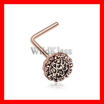 Rose Gold Mandela Filigree Icon L-Shaped Nose Ring 316L Surgical Steel