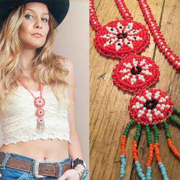 Red Native American Seed Beaded Fringe Necklace | Peyote Tribal Ceremonial Beadwork Pendant | Southwestern Red Statement Necklace Boho Chic