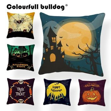 Pumpkin Pillow Cover Happy Halloween Bat Spider Witch Hat Pillow Case Magic Broom Cushion Cover Home Sofa Decoration 17In Burlap