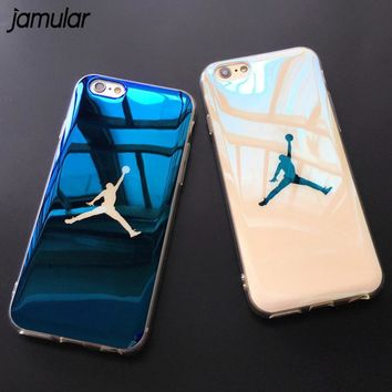 jamular flyman jordan case cover for iphone 7 6 6s sport basketball blue ray soft rubber case for iphone x 8 7 plus protective