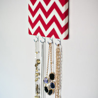 Red Chevron Jewelry Hanger with Hooks