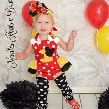 Girls Minnie Mouse Romper, Girls Minnie Mouse First Birthday Outfit, Minnie Mouse Birthday, Minnie Mouse Outfit