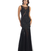 Black Lace Illusion Sweetheart Open Back Dress 2015 Prom Dresses